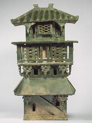 Central watchtower, architectural model, Eastern Han dynasty (25–220), 1st–early 3rd century China Earthenware with green lead glaze