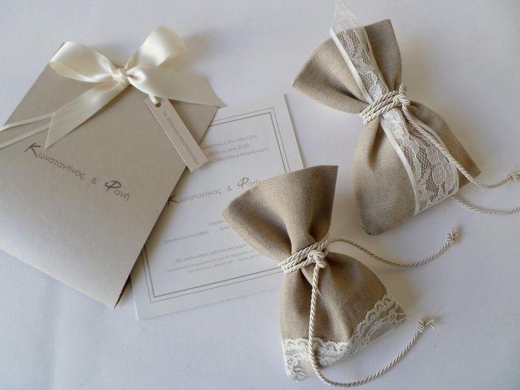μπομπονιέρες γάμου πουγκάκια με δαντέλα και κορδόνι με ασορτί πρόσκληση - craftroom