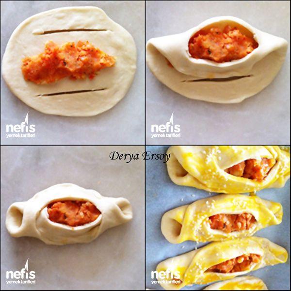 Patatesli Karnıyarık Poğaça 1.5 su bardağı süt 1 yumurta(sarısı üzeri için) 1 tatlı kaşığı tuz 2 tatlı kaşığı toz şeker 1 paket kuru maya (10 gram) 1 çay bardağı sıvı yağ un iç harcı için: 3 adet patates 1 adet kuru soğan yarım tatlı kaşığı salça kırmızı pulbiber karabiber kuru nane
