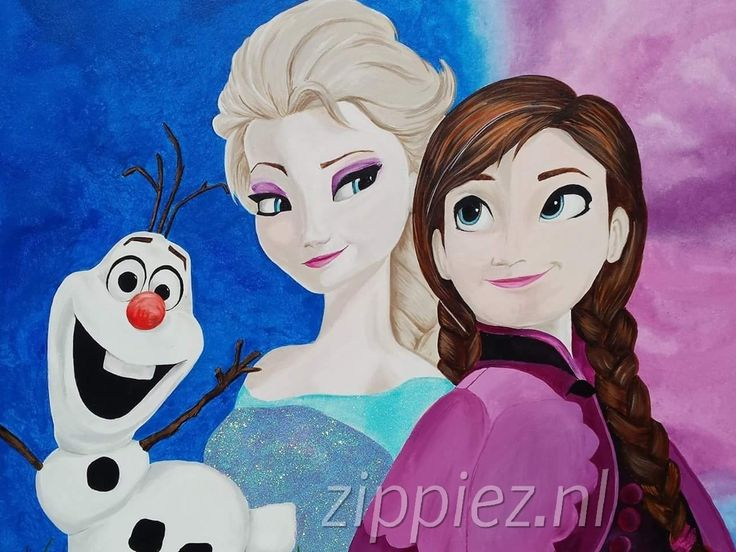 Schildering op houten paneel. Frozen met Elza, Anna en Olaf
