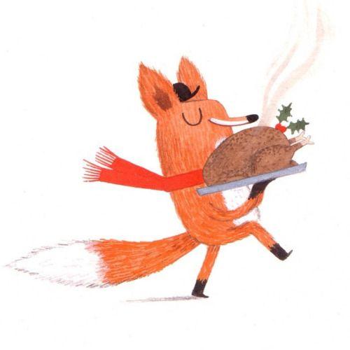 Fox and turkey by Christine Pym