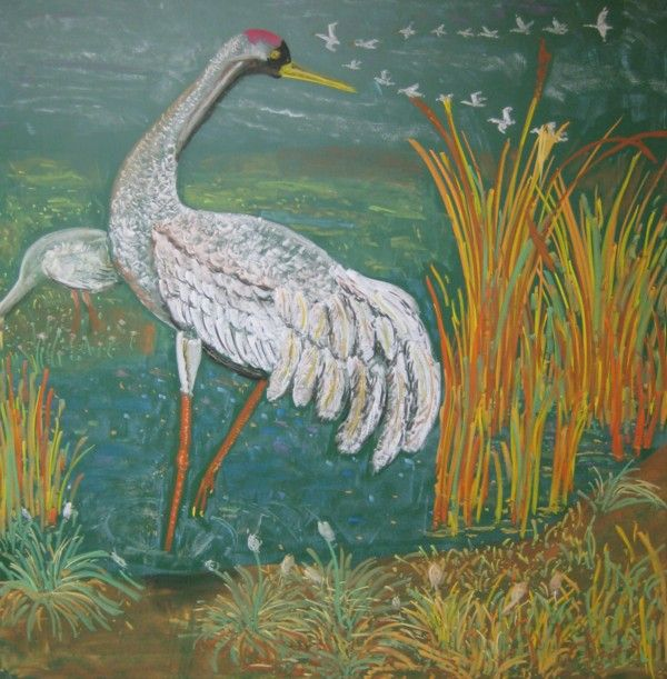Waldorf ~ 4th grade ~ Human & Animal ~ Crane ~ chalkboard drawing