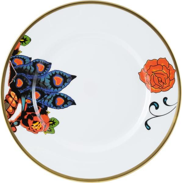 """10"""" 'Inkhead' Dinner Plate, featuring elements of Florian Hutter's beautiful design including the bold and vibrant rose. Taking inspiration from tattoos and edgy art, 'Inkhead' features a vibrant and bold skull design full of colour and detail. Hand gilded 22kt Gold rim and accents – gold tooth, made in Stoke-on-Trent, England. Fine Bone China. Find out more here: https://thenewenglish.co.uk/collections/inkhead #TheNewEnglish #Inkhead #Tattoos"""