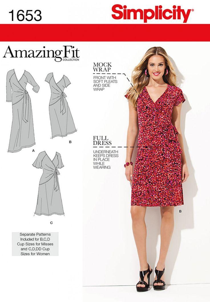 Simplicity 1653 Misses' & Plus Sizes Amazing Fit Knit Dress Sewing Pattern