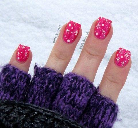 Pink Winter Snowflakes