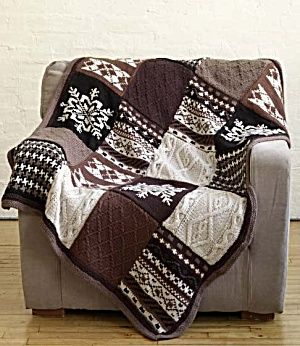 Free Knitting Pattern 80753AD Fireside Patchwork Afghan : Lion Brand Yarn Company