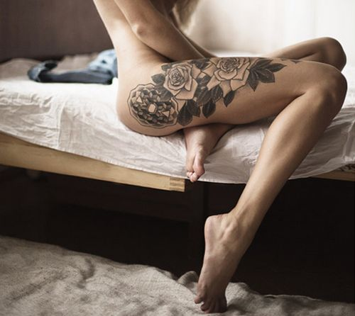 Thigh tattoo, but NOT flowers! Ugh