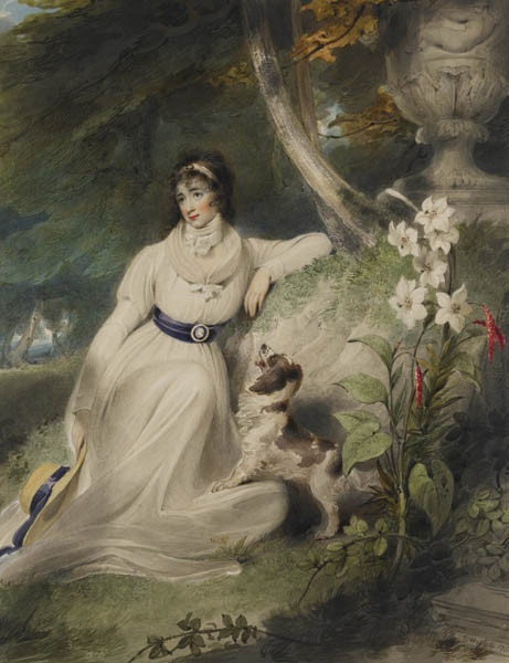Richard Westall, Portrait of a Woman seated in a Landscape with a spaniel, 1793