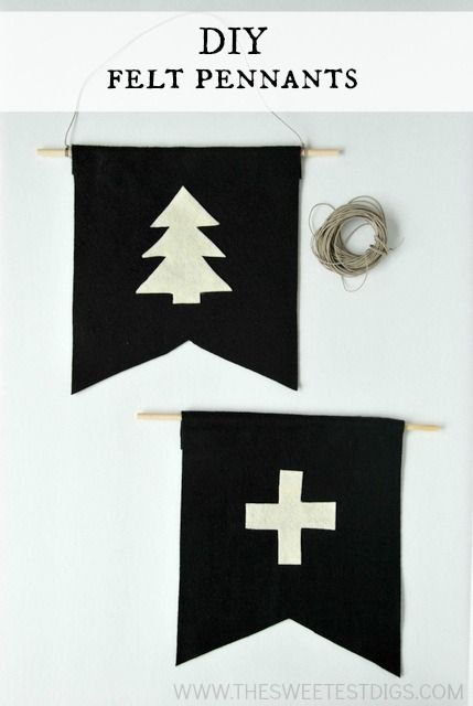 Want to add some scandinavian style design to your home? Make these DIY felt pennants with some felt, dowels, and glue. So easy! A great Christmas decor idea or just as DIY artwork. Click for the full how-to tutorial on the blog.
