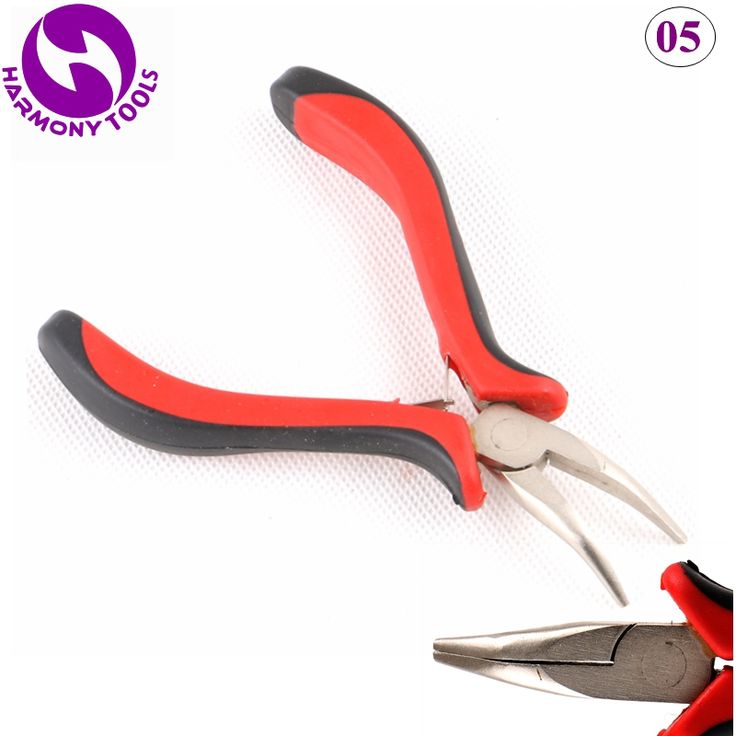 HARMONY 2 Pieces Red&Black Handle Salon Curved Pliers Keratin Pre-bonded Micro Ring I tip Hair Extensions Tools ( Style 05 )