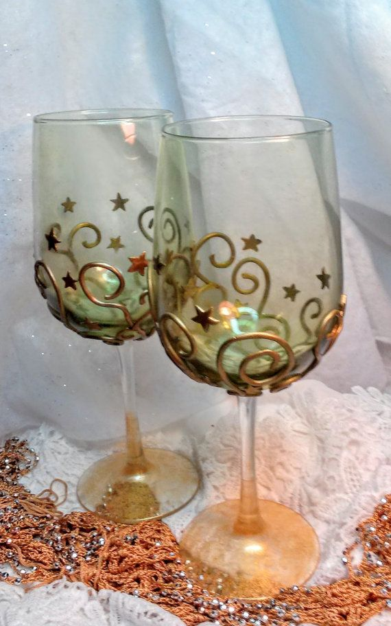 Polymer clay decorated long stem wine glasses, gold stars designed red wine glasses, Merriebethplace's design