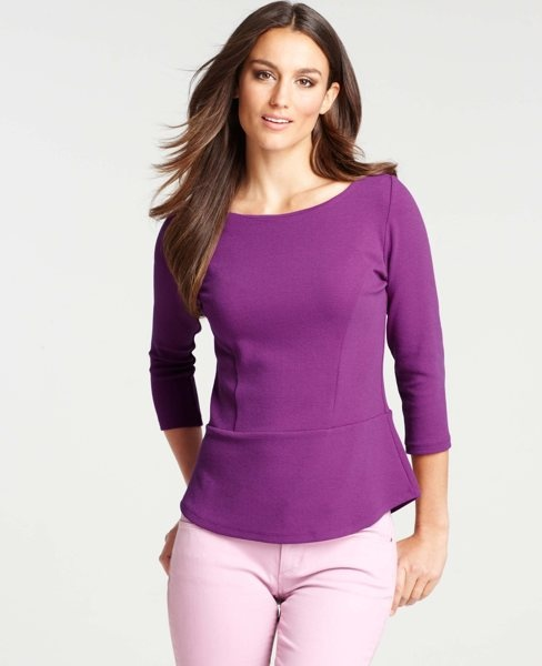 Ann Taylor - AT Knits Tees - Textured Crepe Peplum Top