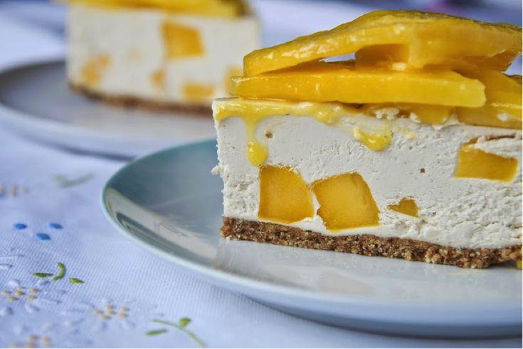 Raw Mango, lemon and ginger cheesecake
