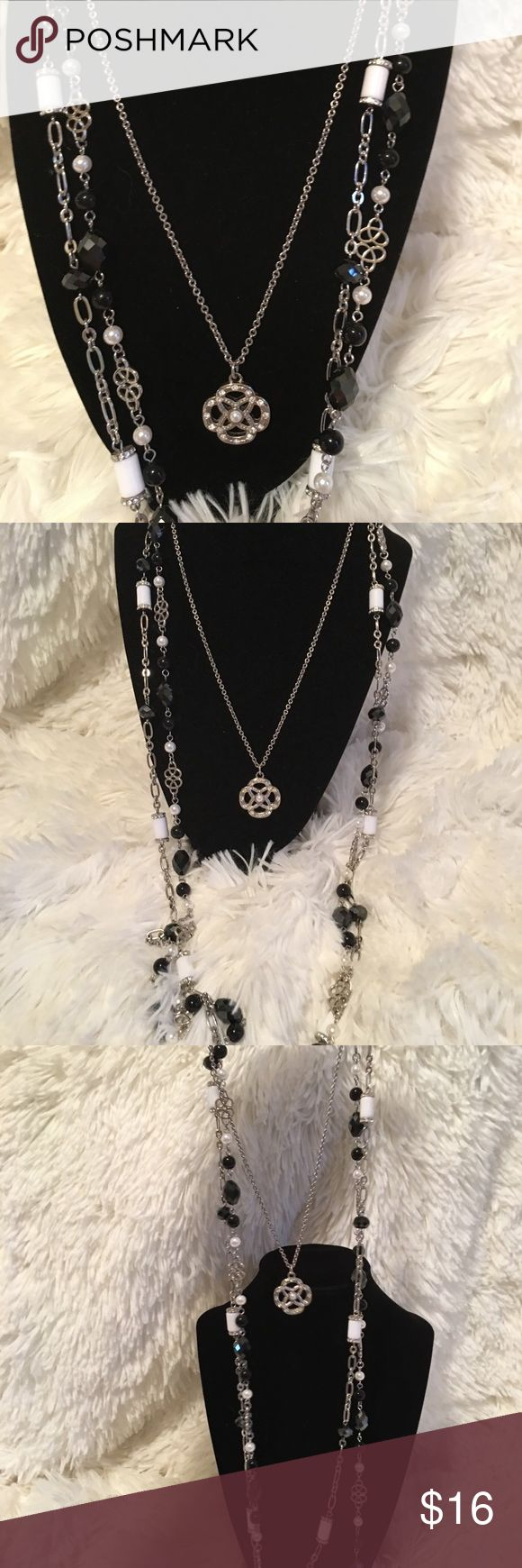 "Lia Sophia 62"" Necklace set Beautiful black and white Lia Sophia 3 piece set can be used as one, two or three piece necklaces. Lia Sophia Jewelry Necklaces"