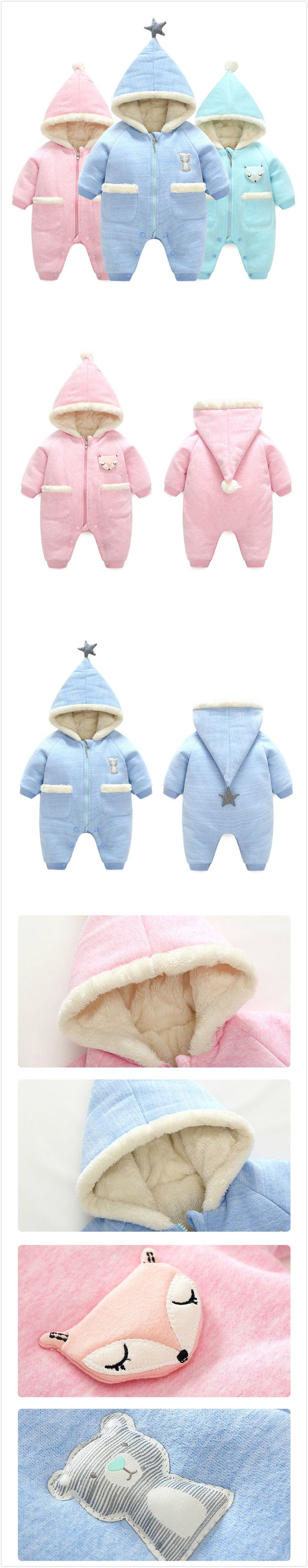 3-24Months Thicker Velvet Baby Boy Girl Winter Warm Hooded Jumpsuit Romper Outfit