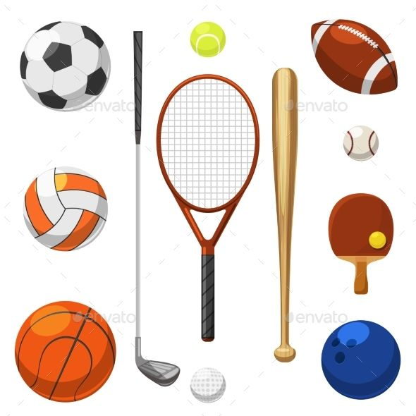 Sport Equipment Icons by neyro2008 Vector sport equipment icons. Sports exercises items. Racket and bat for sport game illustration