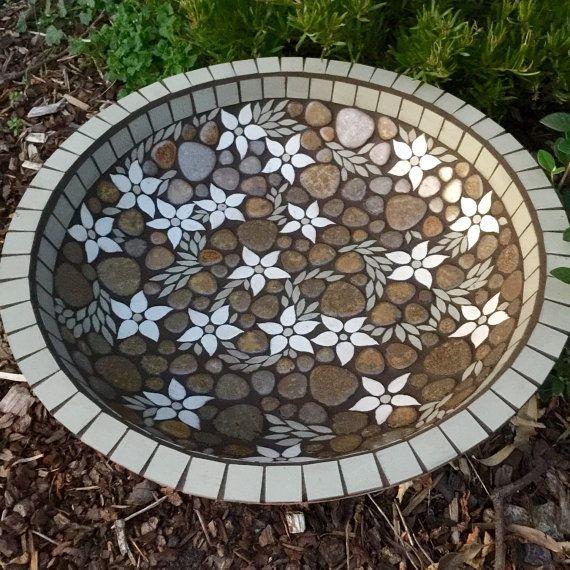 Birdbath | Bird bath | Mosaic bird bath bowl | Flannel flower | Garden art made to order