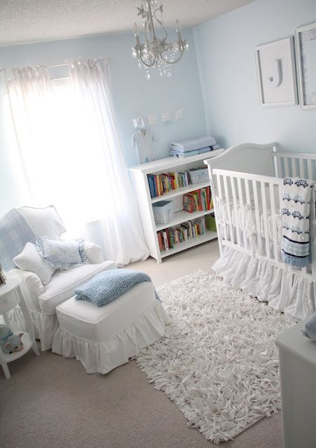 Soft and classic baby boy room.   Love the AFK crib and Taylor Scott chair.