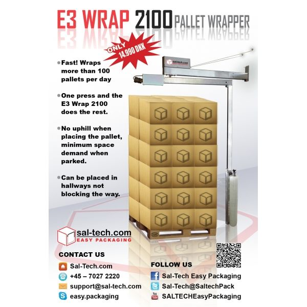 Hallbrook E3 2100 Wrap Pallet Wrapper NEW VERSION now with Photocell,is capable of wrapping more than a 100 pallets in a normal working day. Definitely a great investment for your business.//
