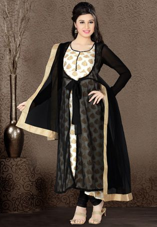 Black and Off White Faux Georgette Readymade Churidar Kameez