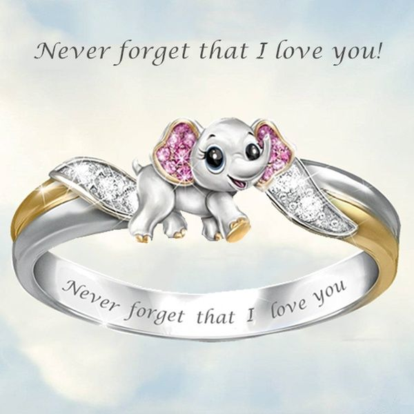 Never Forget I Love You Exquisite Fashion 925 Silver Cute Pink Elephant Crystal Diamond Engagement Ring Fashion I Love You Ring Elephant Ring Gift For Lover