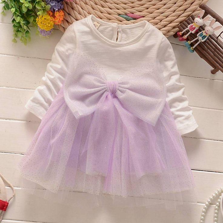 Moda otoño primavera de manga larga bebés baby girls kids balón vestido de malla patchwork tutu arco princesa dress vestidos de baile s2758