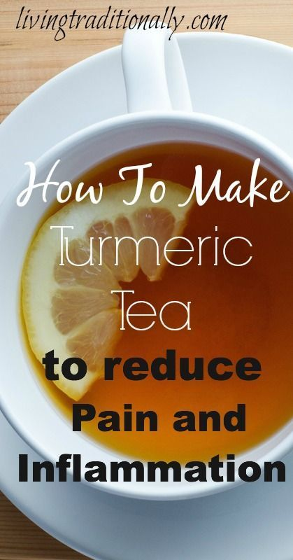 How To Make Turmeric Tea To Reduce Pain and Inflammation.  INGREDIENTS:  2 tablespoons of grated fresh turmeric root, or 1 full teaspoon of ground  organic turmeric  4 cups of water Raw Honey and lemon to taste    INSTRUCTIONS:  Take four cups of water in a pot and boil it. Add the turmeric.  Now, simmer for 10 minutes, before straining it. When ready, strain the tea through a mesh strainer, and add the honey  to taste.