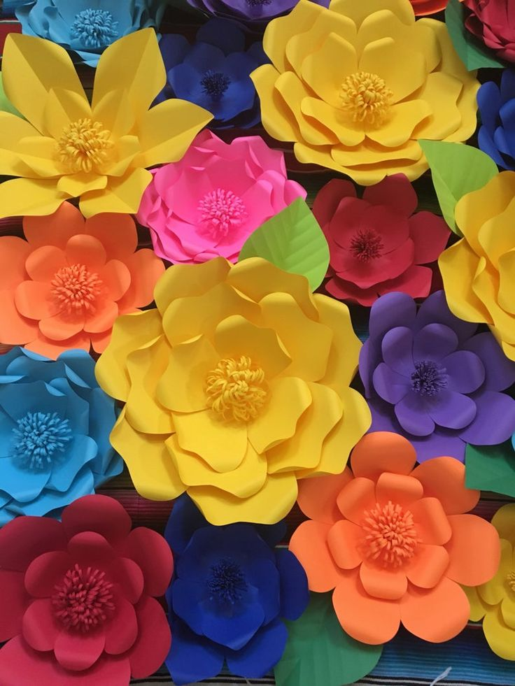 25 mexican fiesta giant paper flowers for wall decor