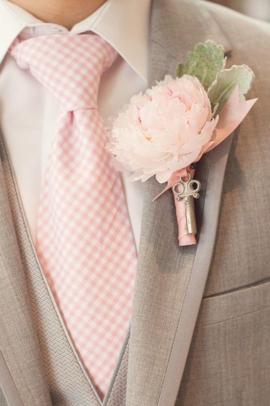 pink peony Spring Wedding Boutonnieres - Kristina Valdmaa Designs