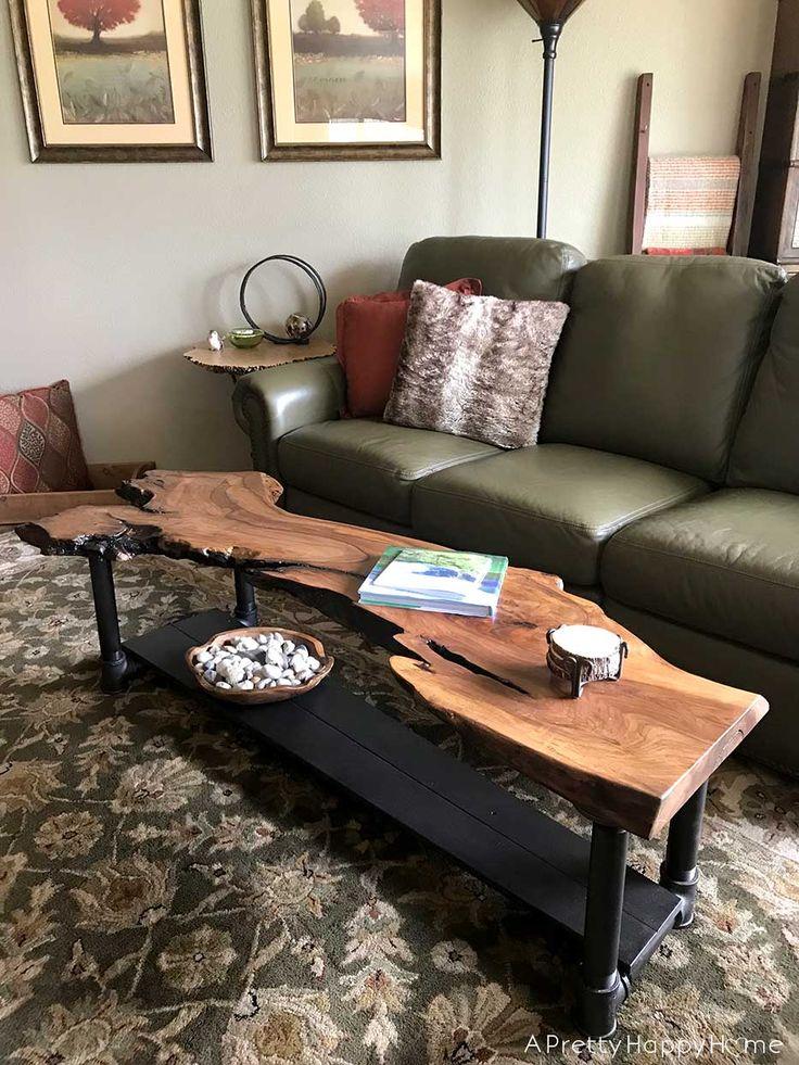 DIY Live Edge Wood Coffee Table | A Pretty Happy H…