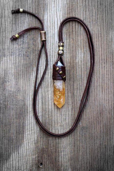 Unisex Rough Citrine Crystal Necklace, Chakra Balancing, Healing Stone, Spiritual, Tribal, Boho, Natural Inspired