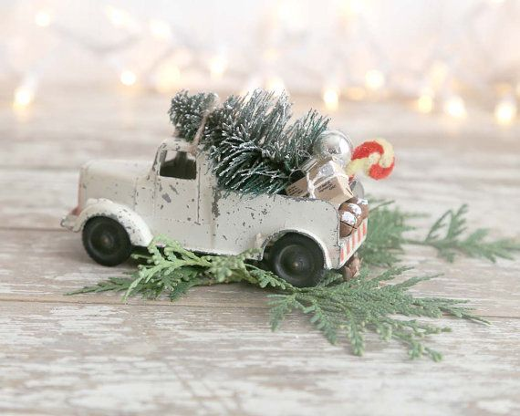 Vintage Truck and Christmas Tree Metal Truck by TheHeirloomShoppe