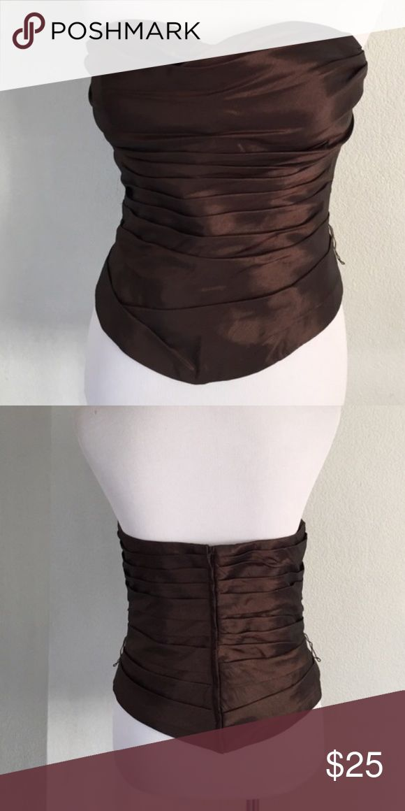 Gorgeous Brown Corset Top/ Basque 14 Fits like a 12. Light boning and molded cups inside. Great for girls night out or paired with a skirt for a formal event! Bill Levkoff Tops Blouses