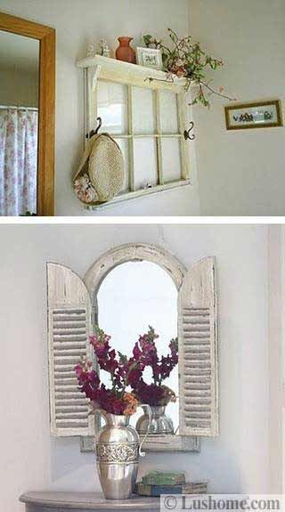 how to reuse and recycle old wood windows and doors for handmade wall decorations