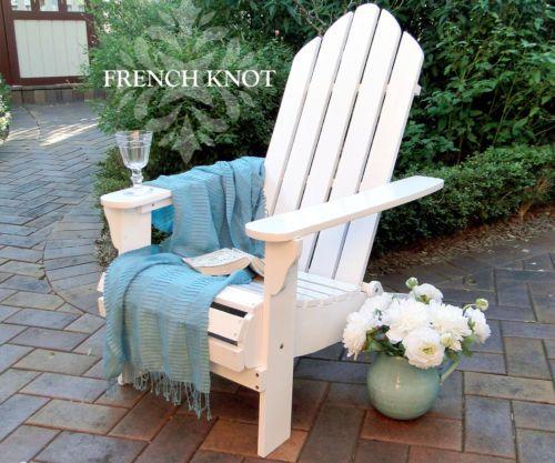 Charming White Adirondack Chair Cape COD Outdoor Chair Hampton Style Deck Chair F |  EBay