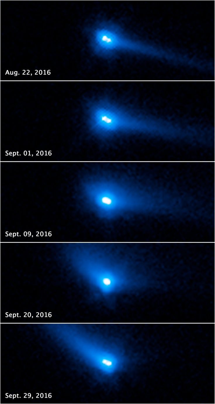 Astronomers have found a rare, ripple like effect created, beautiful blue comet-like double asteroid. If you imagine hard enough it becomes real...