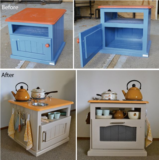 Recycled bedside table into a kid's kitchen, genuis!