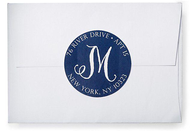 One Kings Lane - Finds Under $50 - S/80 Script Letter Address Labels, Navy