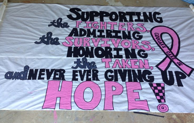 Cheer run thru sign - pink out game