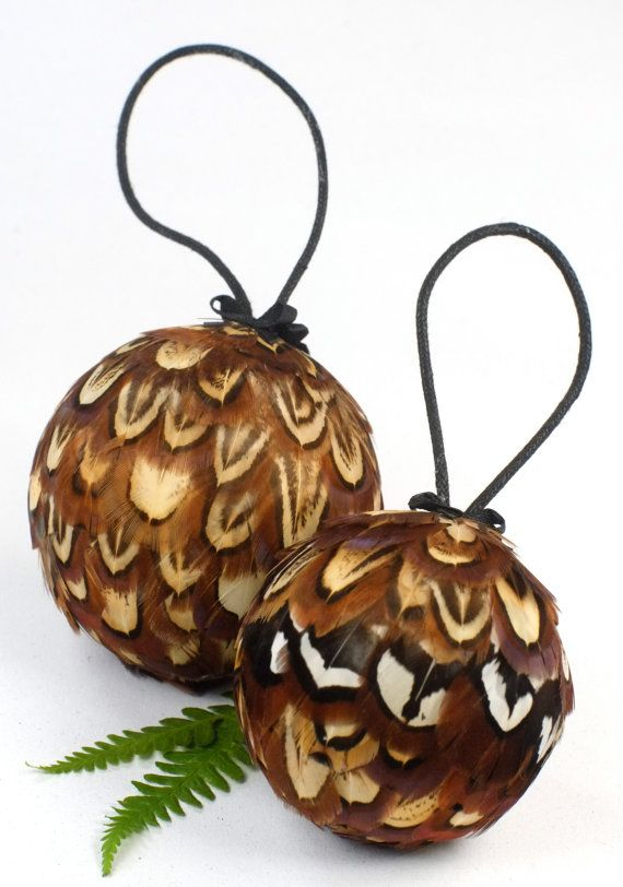 Christmas Feather Baubles  Pheasant Feather Decorations by LoneAsh
