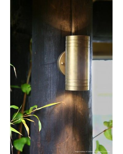 Elstead Lighting - Garden Zone - Elite 2 Light LED Outdoor Up/Down Wall Light In Solid Natural Brass