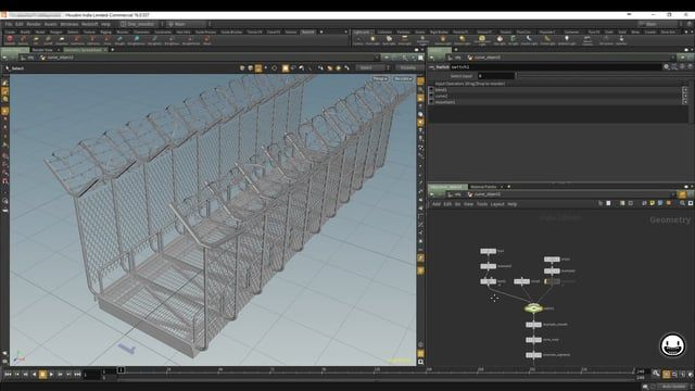 A procedural model of a fenced bridge with barbed wires. The model is based on input curve. All elements are more or less controllable by parameters.