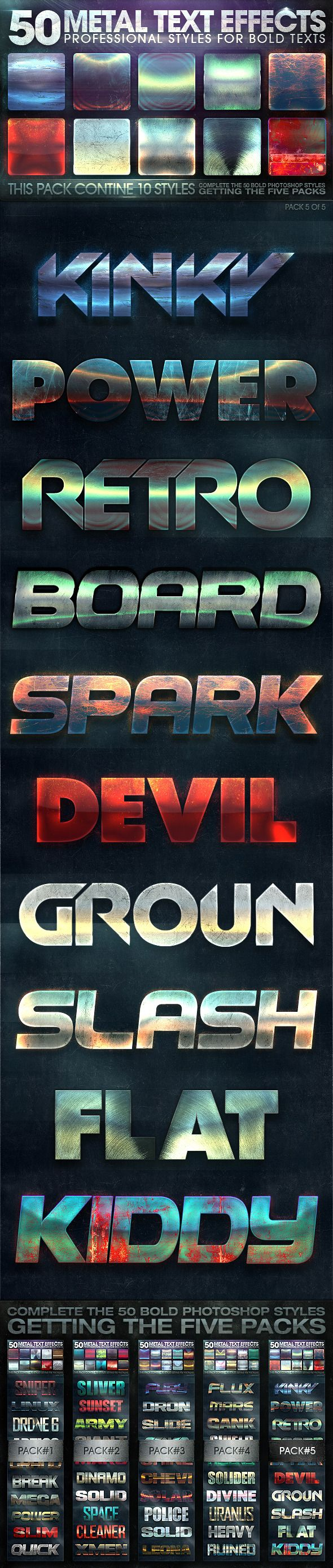 50 Metal Text Effects 5 of 5 #photoshop Download here: http://graphicriver.net/item/50-metal-text-effects-5-of-5/10736602?ref=ksioks