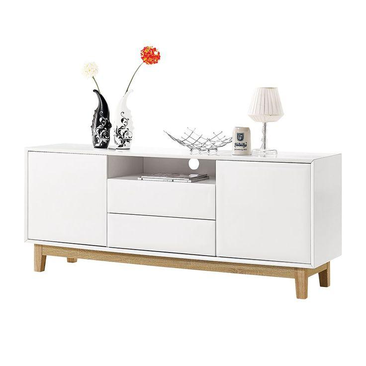 Sideboard Melia II - Hochglanz Weiß / Eiche
