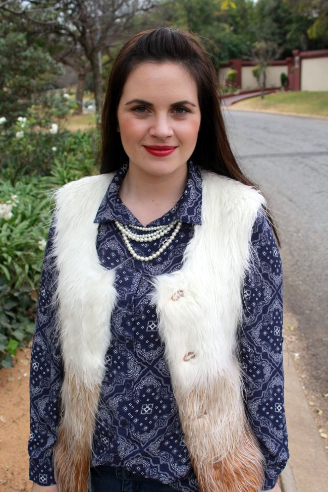 Furry Vest and MAC's Rebel lipstick [K Storm Fashion Blog