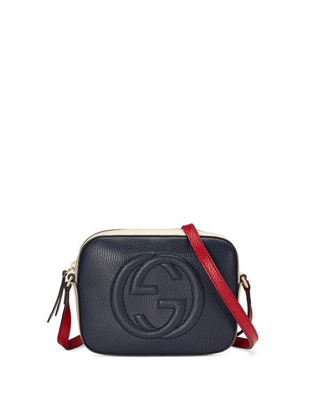 "Gucci tricolor leather shoulder bag with embossed interlocking G. Golden hardware. Adjustable shoulder strap, 21.5"" drop. Zip top closure. Interior, two slip pockets. Cotton lining. 6""H x 8.3""W x 2.8"""