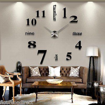 Spiegel 3D Design Wand Uhr Wohnzimmer Wanduhr Wandtattoo Haus Deko DIY Schwarz