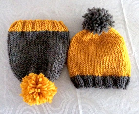 Knit Winter Hat - Twins Set Hats - Sibling Clothing - Wool Hats - Handmade Gift - Twins Baby Shower - Baby Clothing - Grey Yellow Wool Hats  These
