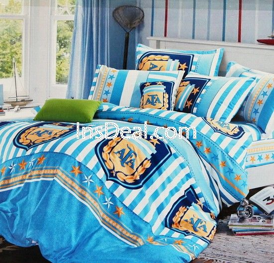 Fashion Soccer Bedding Set Designer Argentina Soccer Duvet Cover Set Boys Blue Stripe Bedding Set