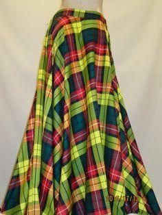 Modern Buchanan Plaid Floor Length Full Circle Skirt~Yellow Red GreenTartan Plaid Wedding Bridesmaid Skirt Maxi Skirt~Custom make@sohoskirts